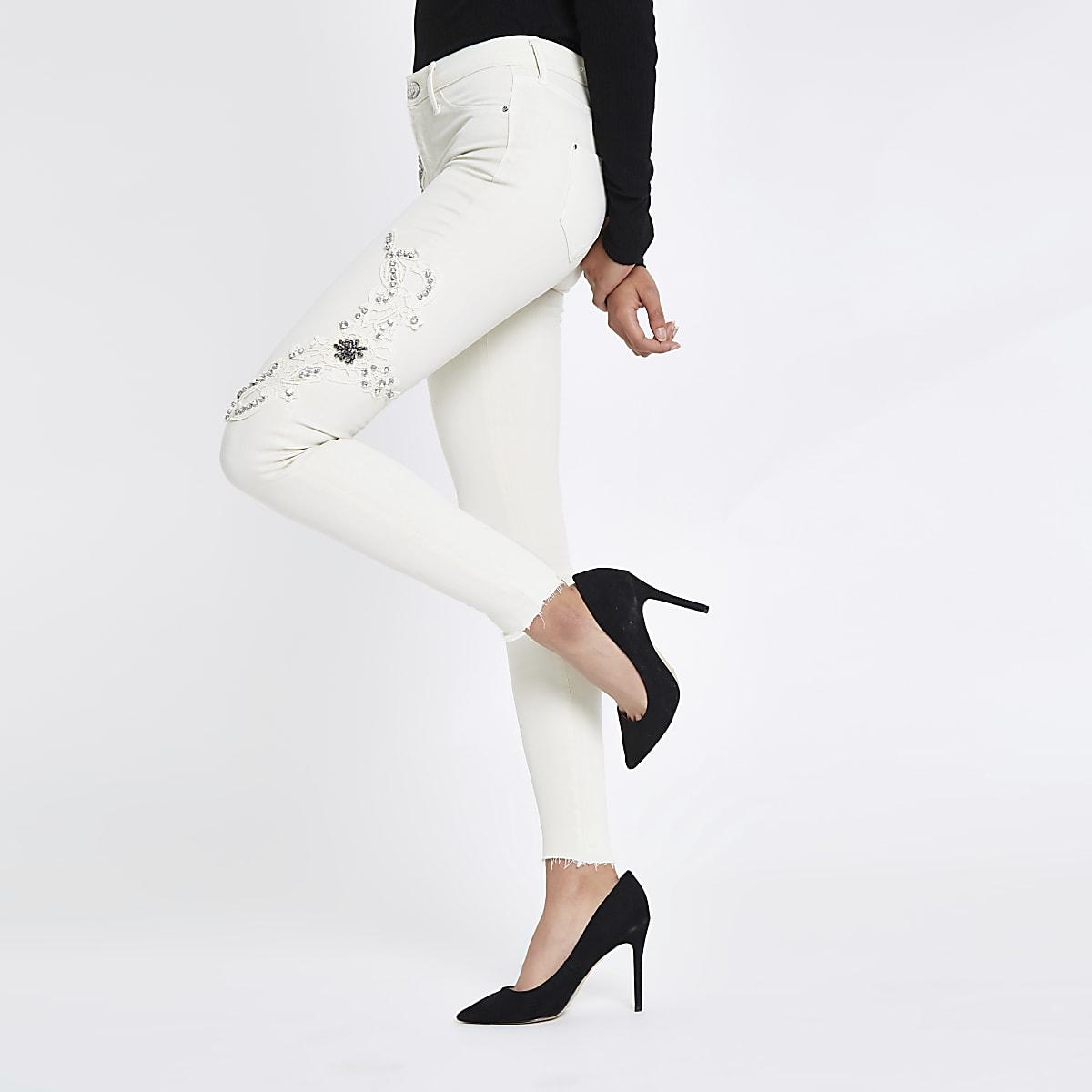 White Molly mid rise diamante jeans