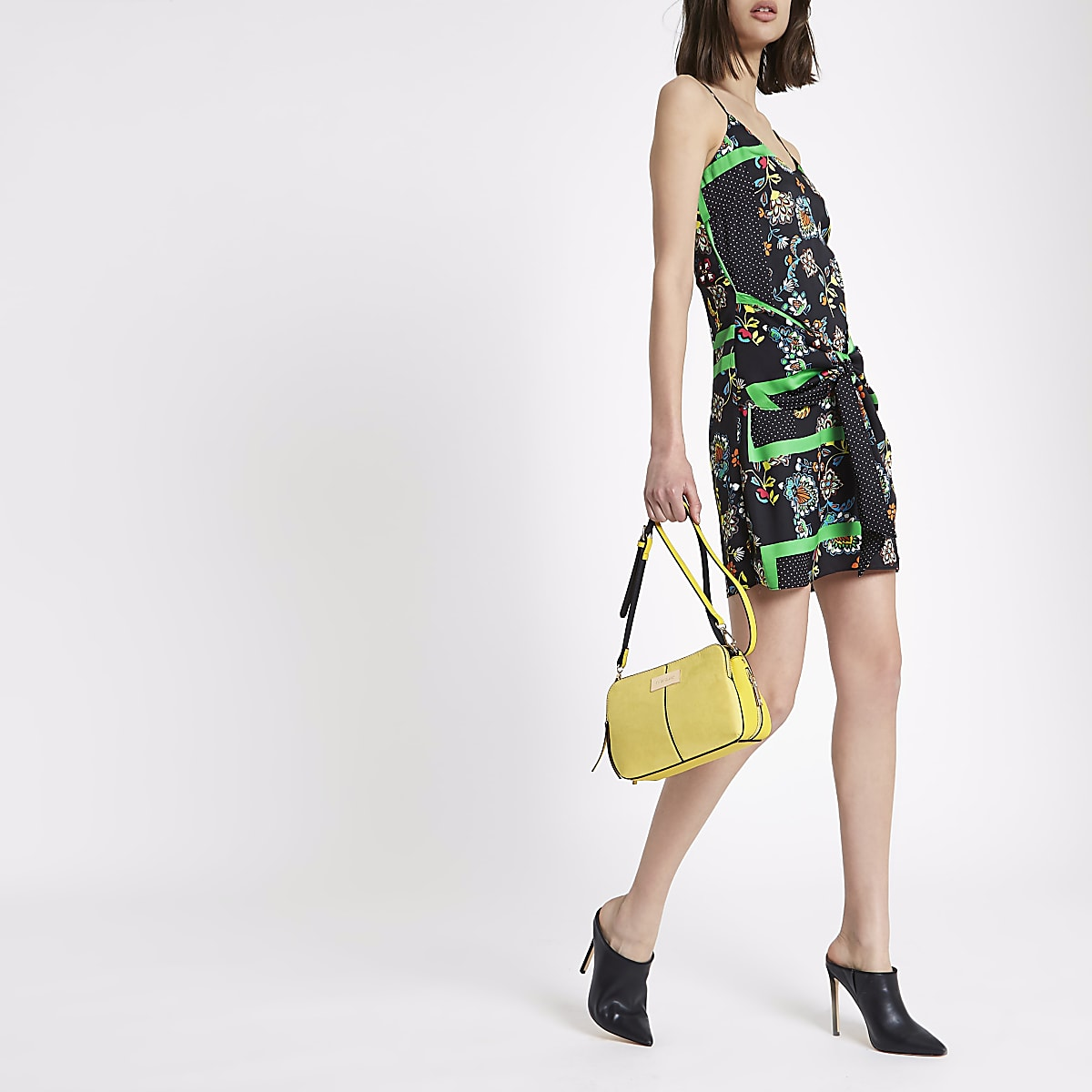 e056a2c66d9028 Black floral scarf print tie wrap cami dress - Slip & Cami Dresses -  Dresses - women