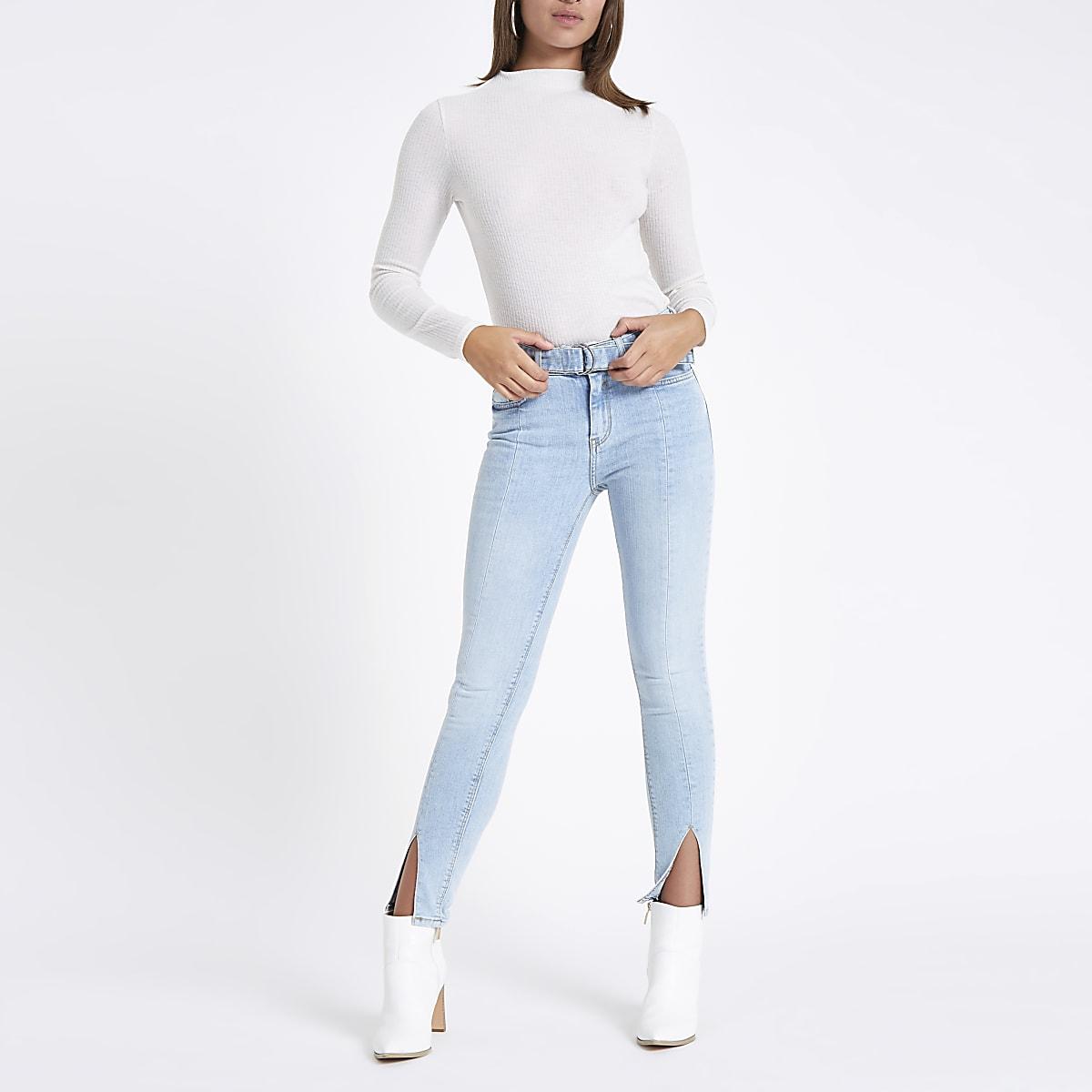 Amelie - Blauwe halfhoge skinny jeans met split bij de zoom