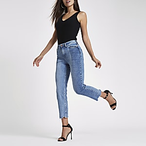 Mid blue Bella cut hem straight leg jeans