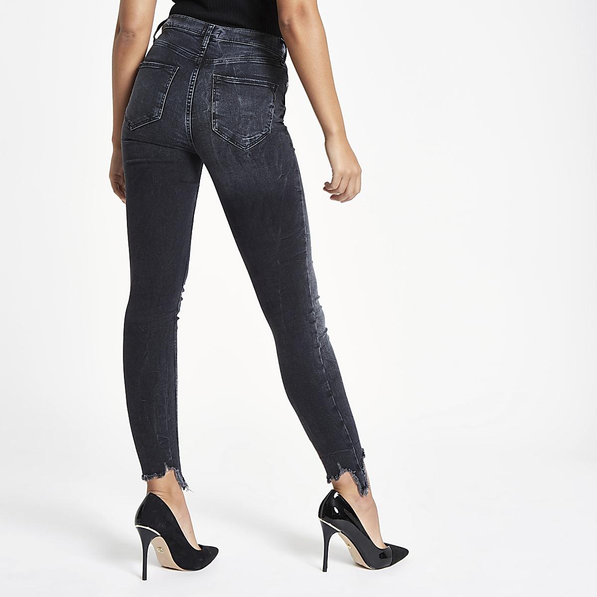 58fc7eb4fb Black Harper super skinny ripped hem jeans - Skinny Jeans - Jeans ...
