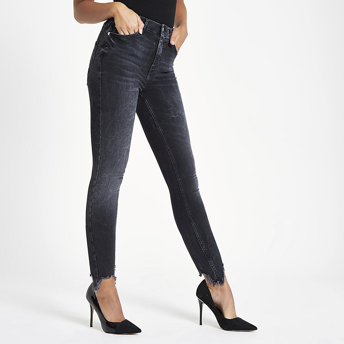 5d2cfc8be0 Black Harper super skinny ripped hem jeans - Skinny Jeans - Jeans - women