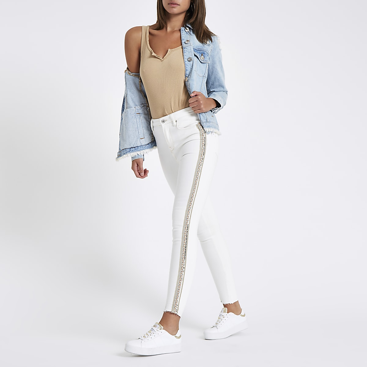 1cfe4989 White Harper sequin detail super skinny jeans - Skinny Jeans - Jeans - women