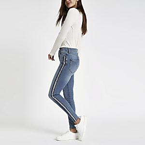 Mid blue Harper sequin detail skinny jeans