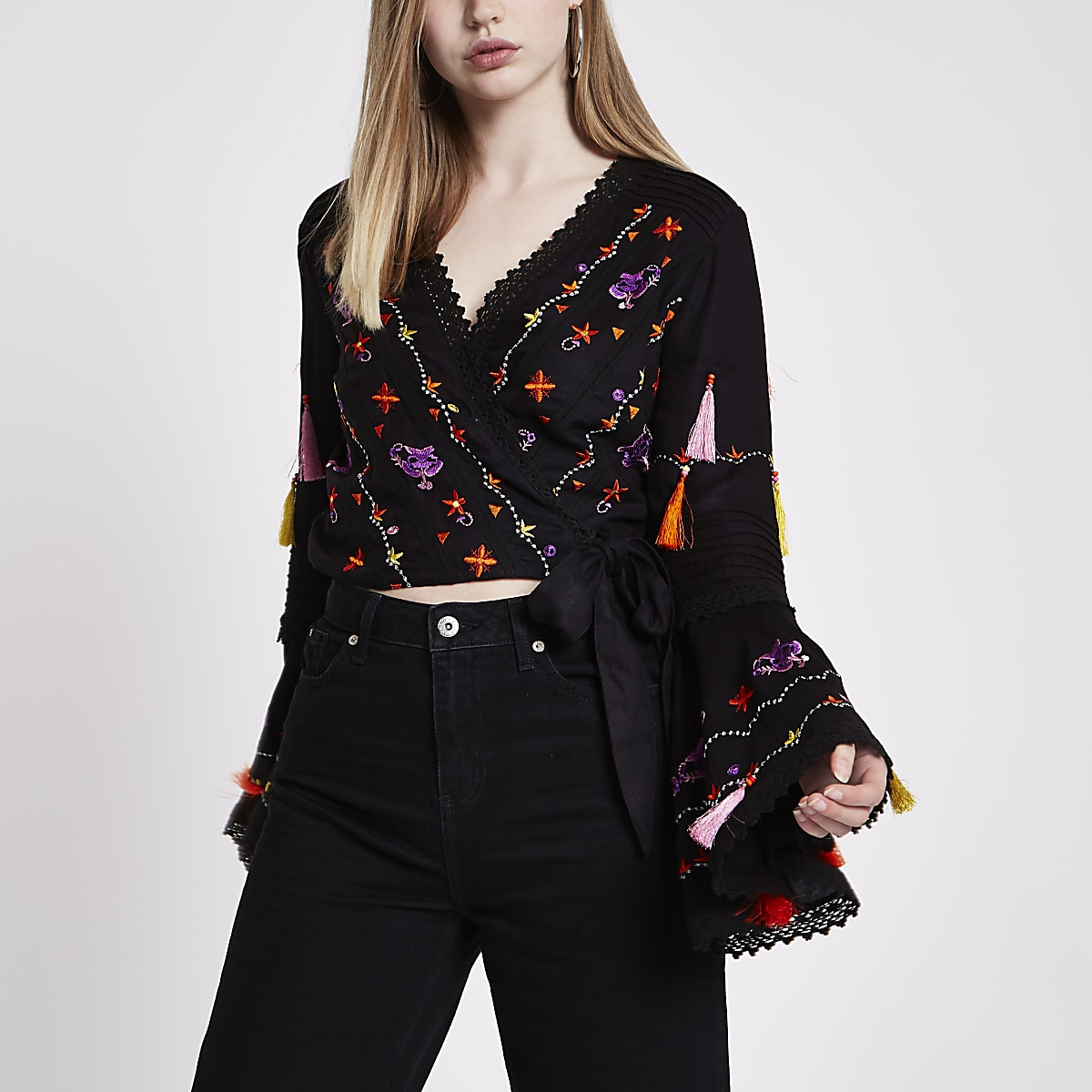 Black embroidered crop wrap top