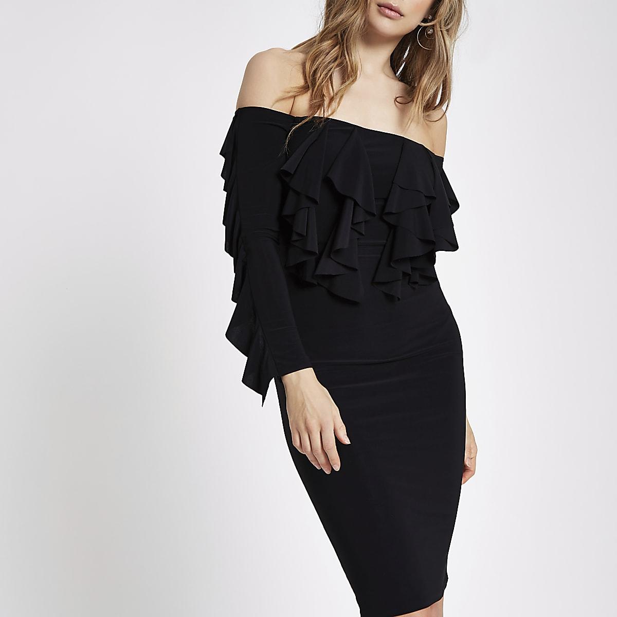Schwarzes Bodycon-Kleid mit Rüschen