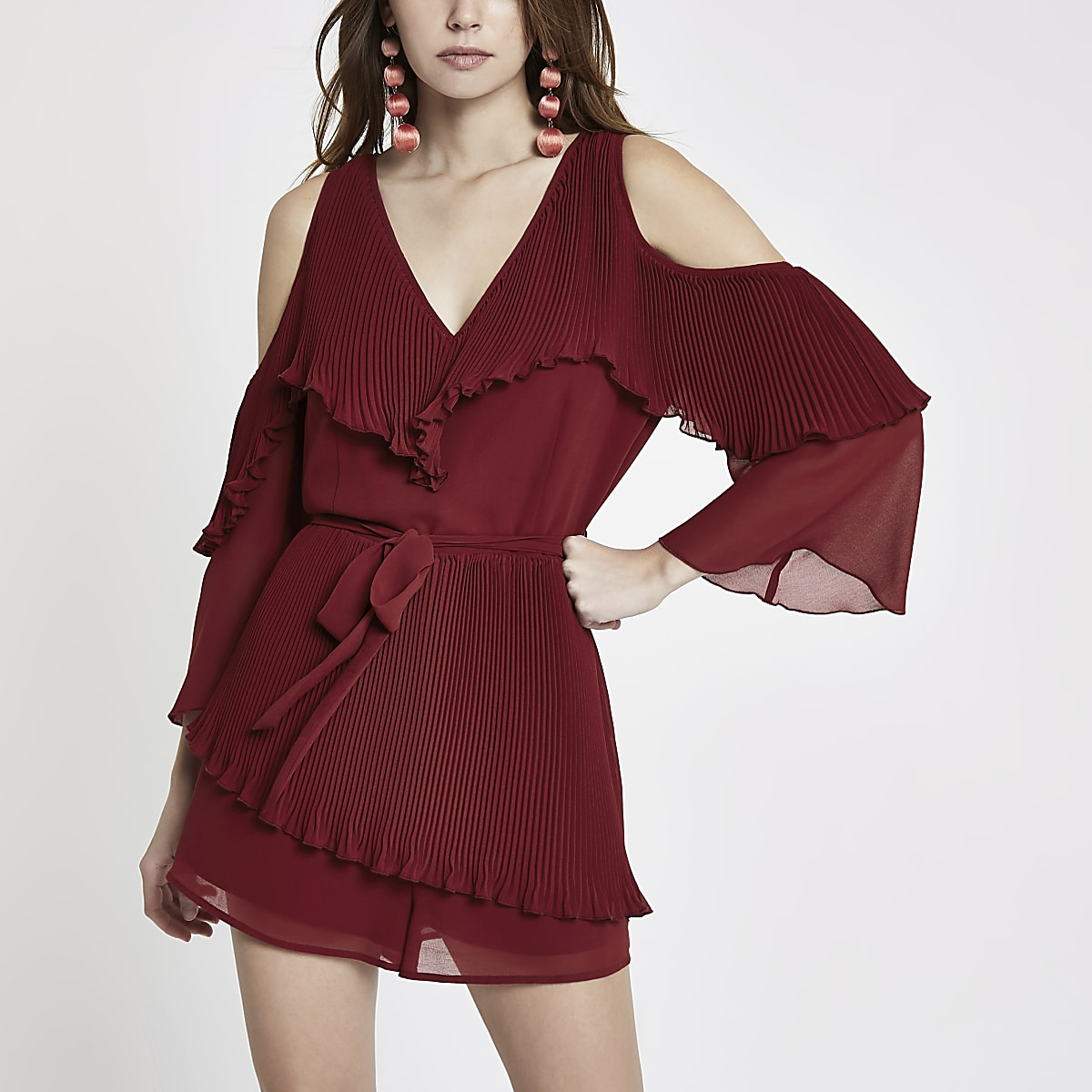 Dark red chiffon bardot playsuit