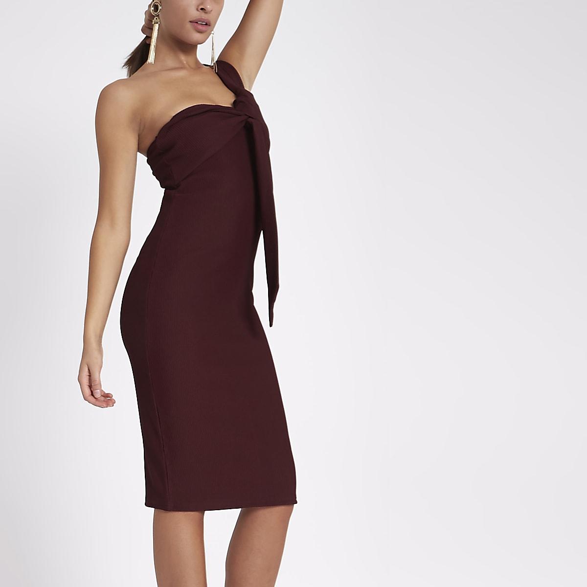 1c9512c66bb Dark red rib one shoulder twist midi dress - Bodycon Dresses - Dresses -  women