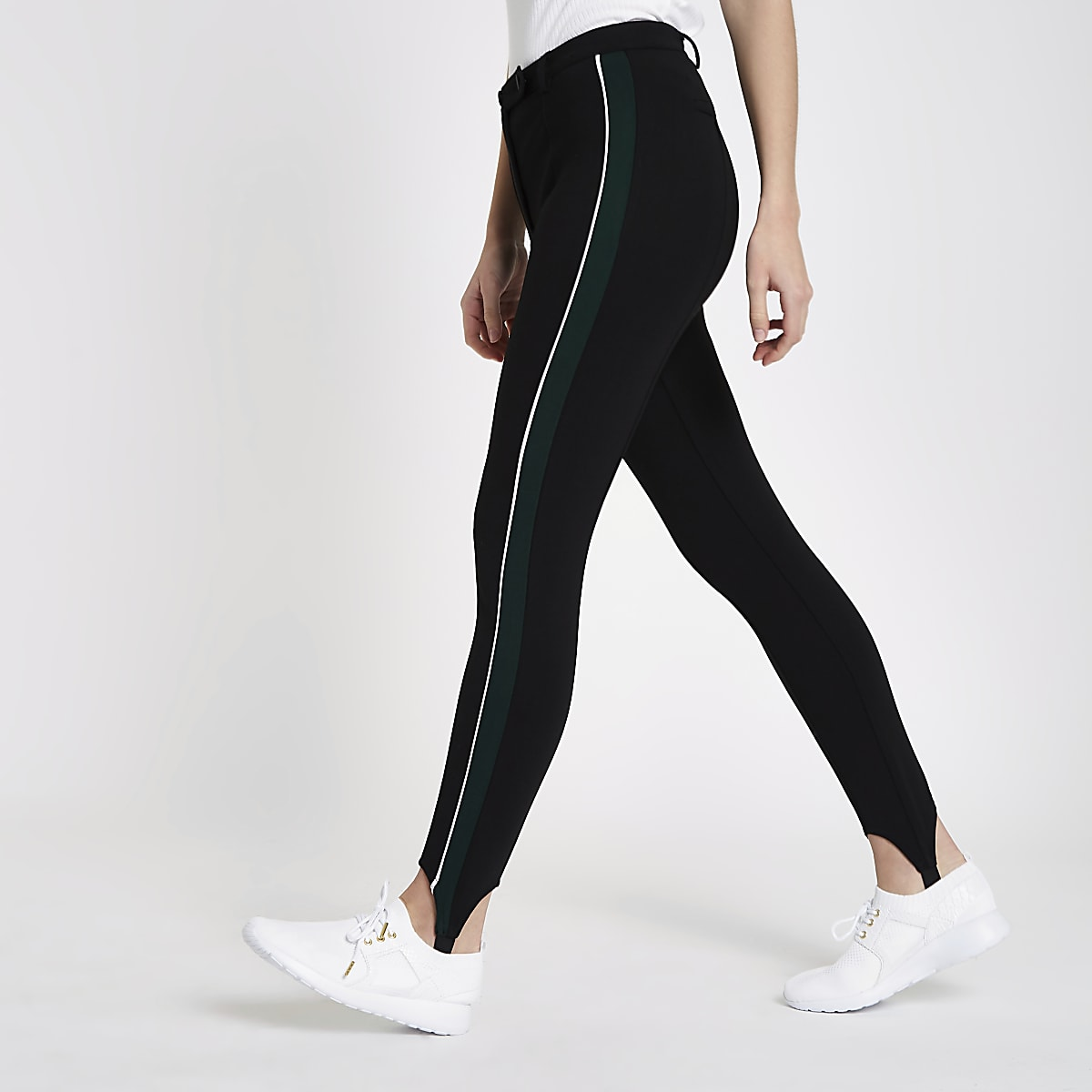 Black stripe side stirrup leggings