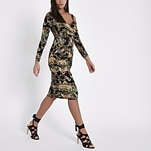 Black baroque print ruched bodycon midi dress