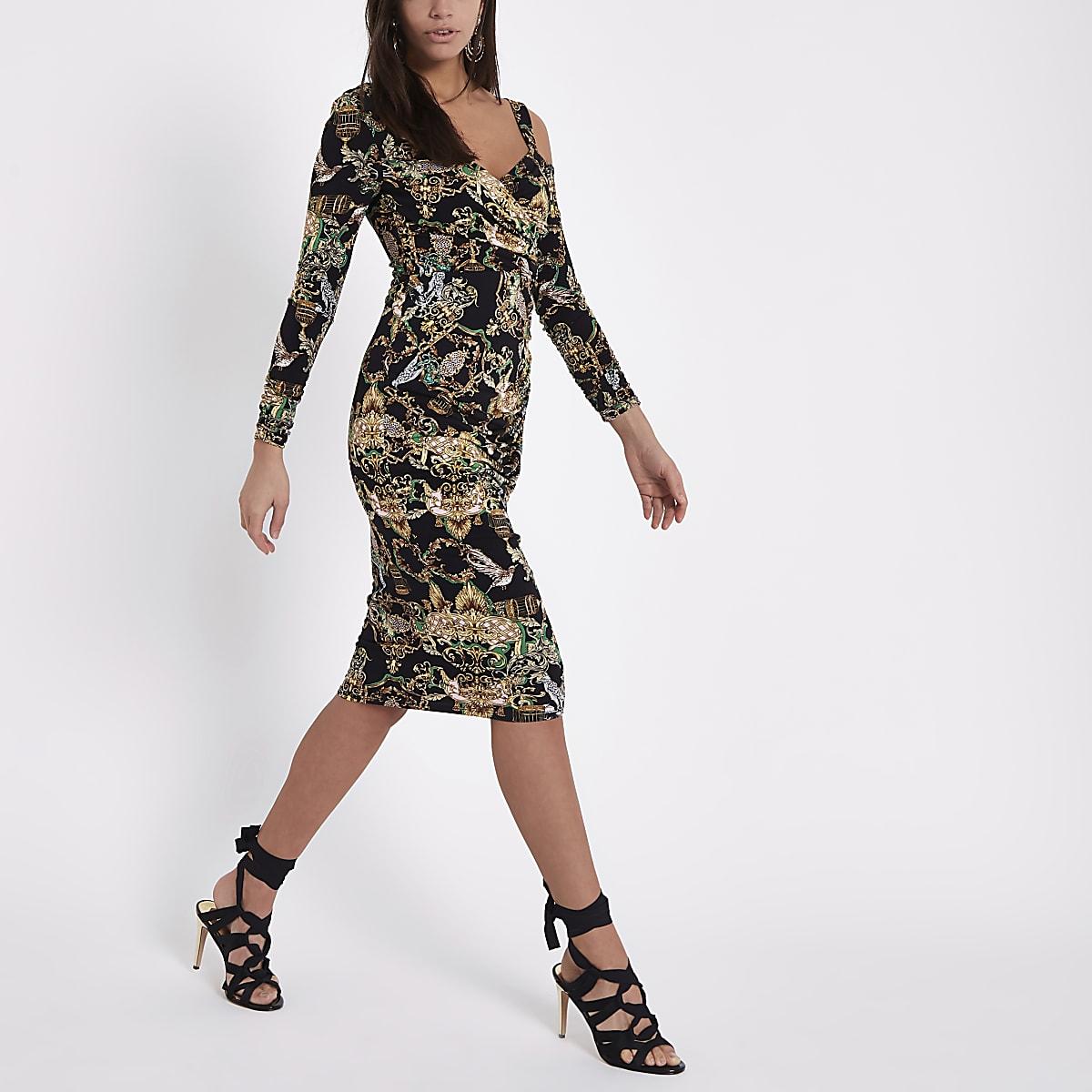 Black baroque print ruched bodycon midi dress