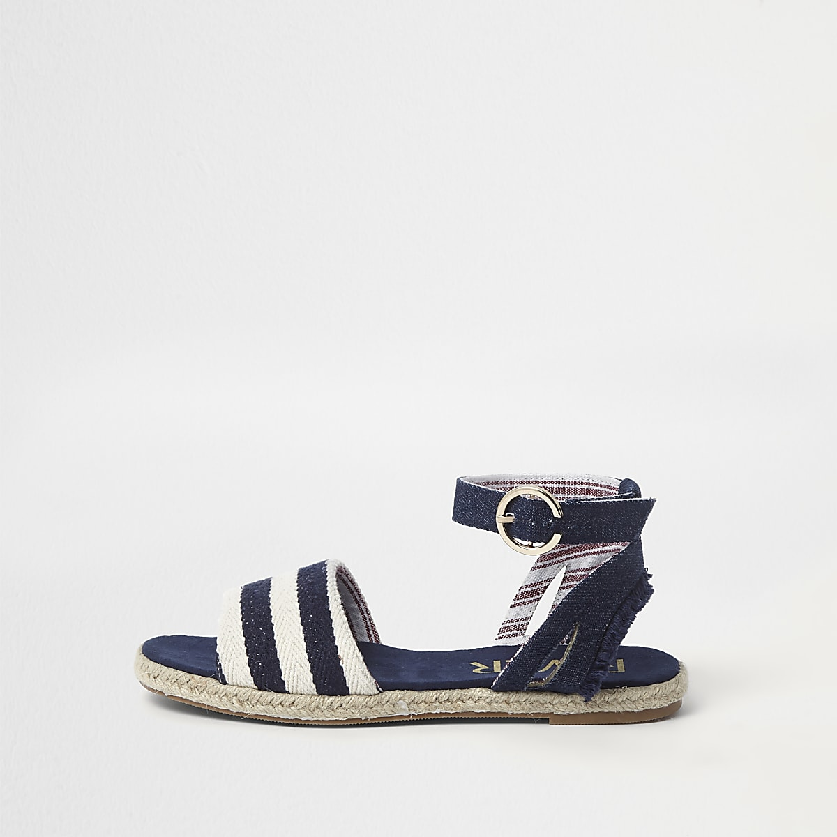 Navy canvas stripe two part espadrilles