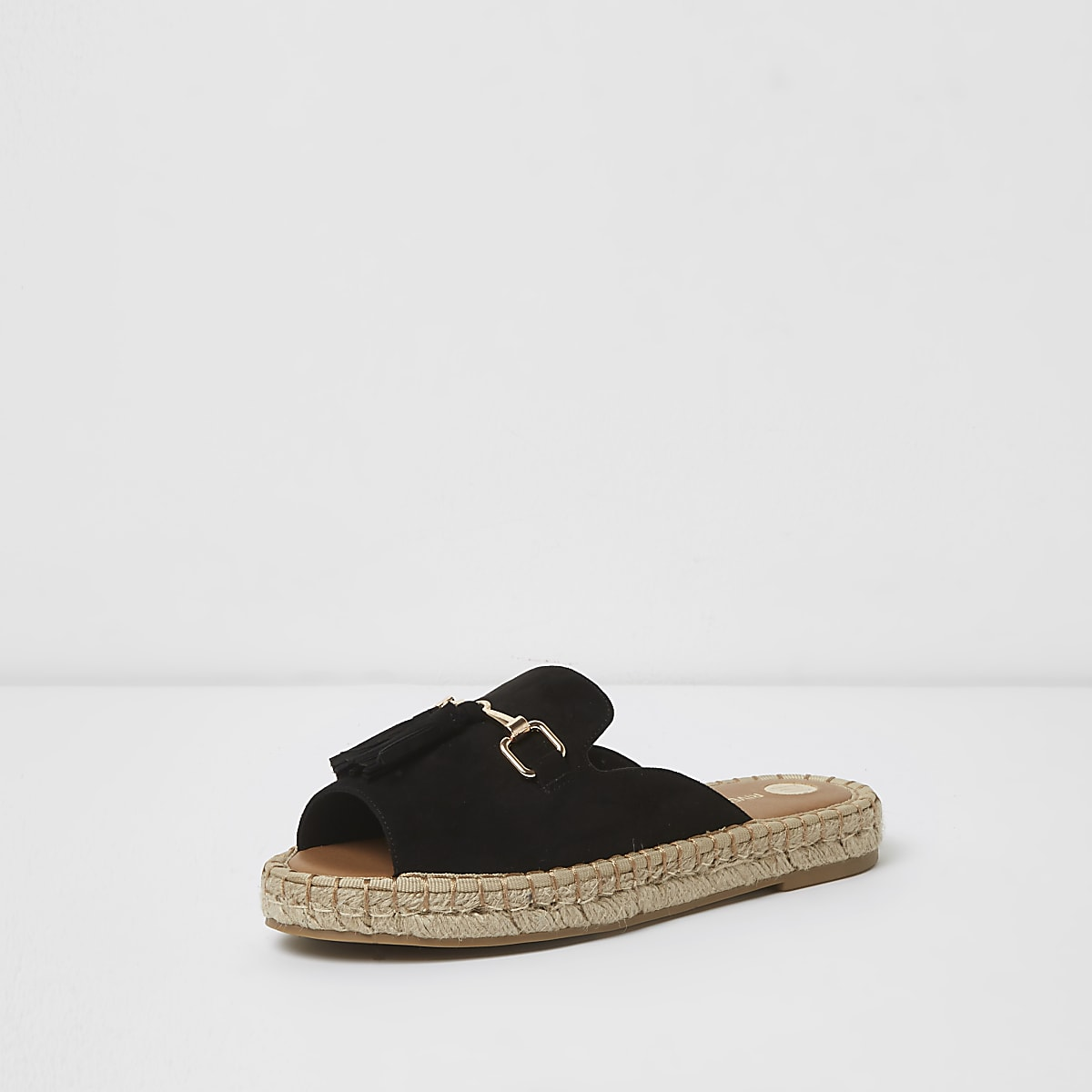 94fc966d4a9 Black Wide fit backless espadrille loafers - Sandals - Shoes   Boots ...