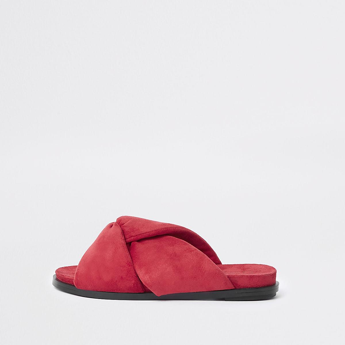 Red padded knot detail sandal