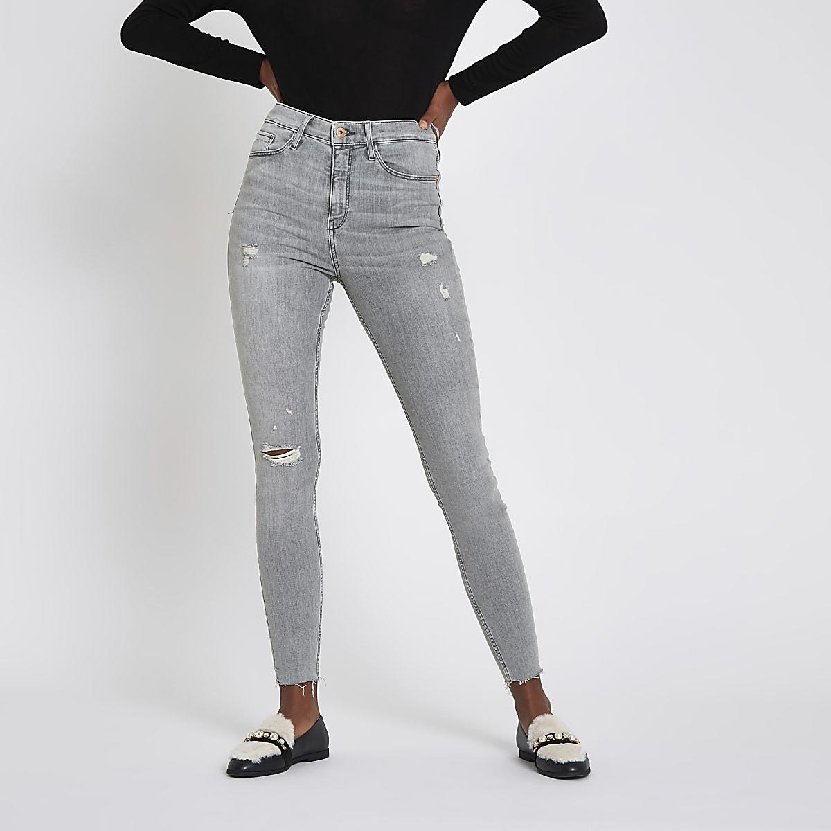 Harper – Jean super skinny gris déchiré