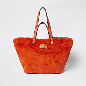 Orange faux fur oversized shopper bag