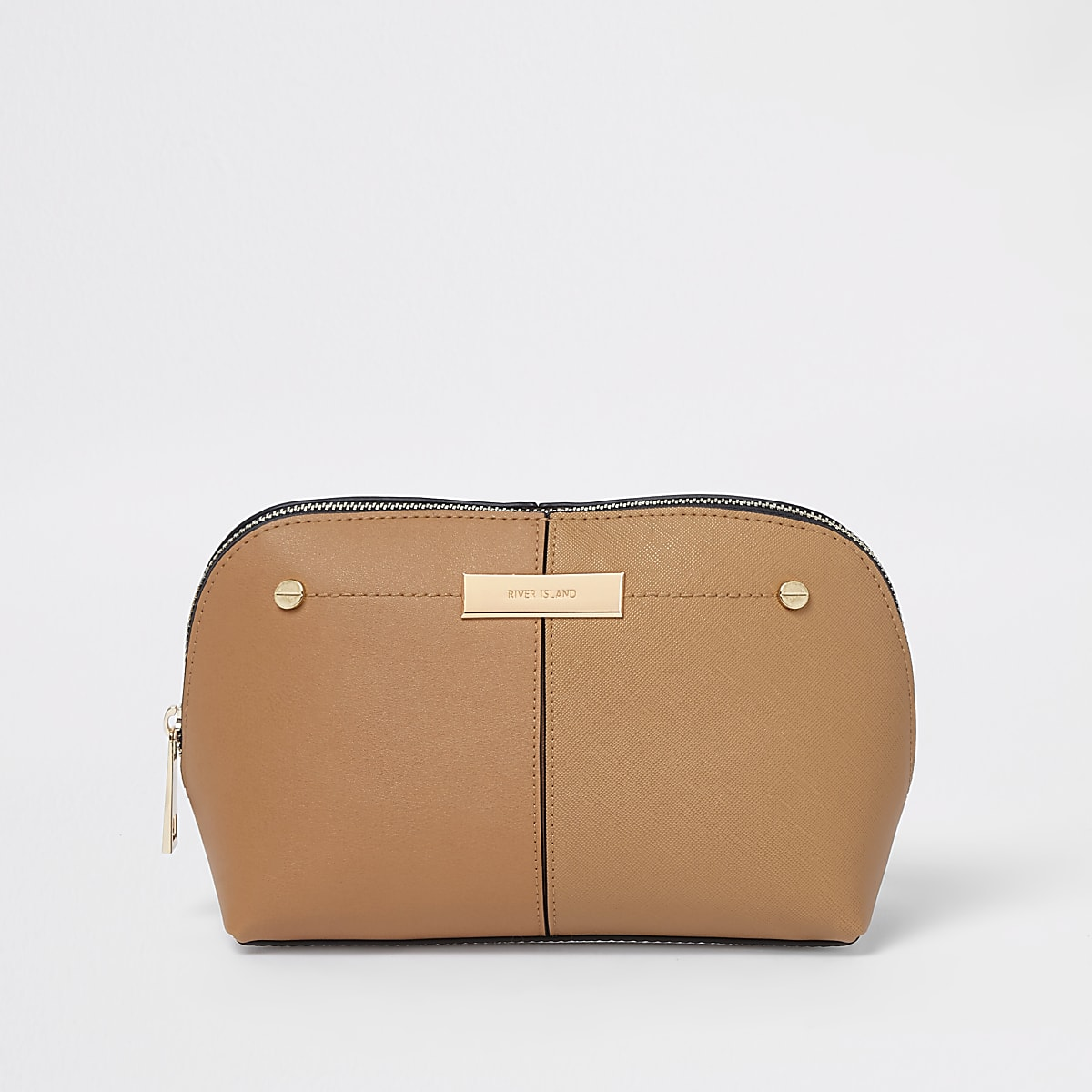 Beige zip top makeup bag