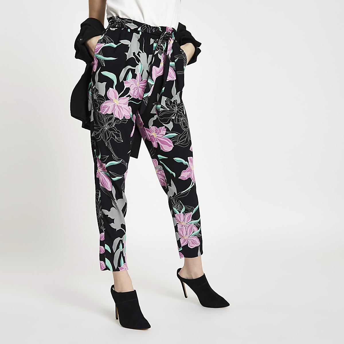 Petite black floral tie waist tapered trouser
