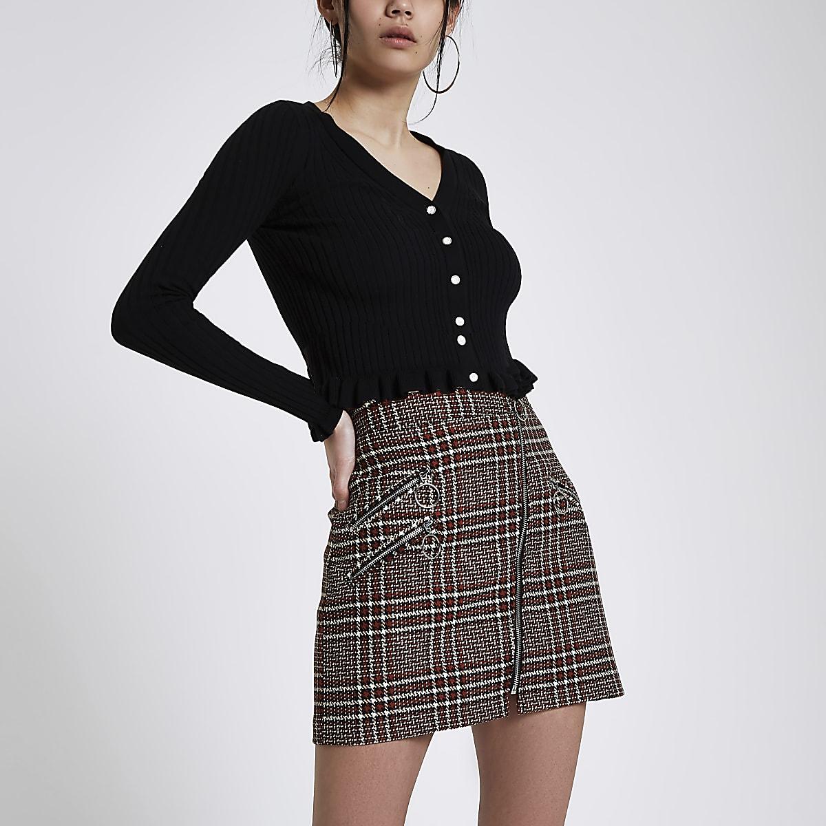 Brown check zip mini skirt