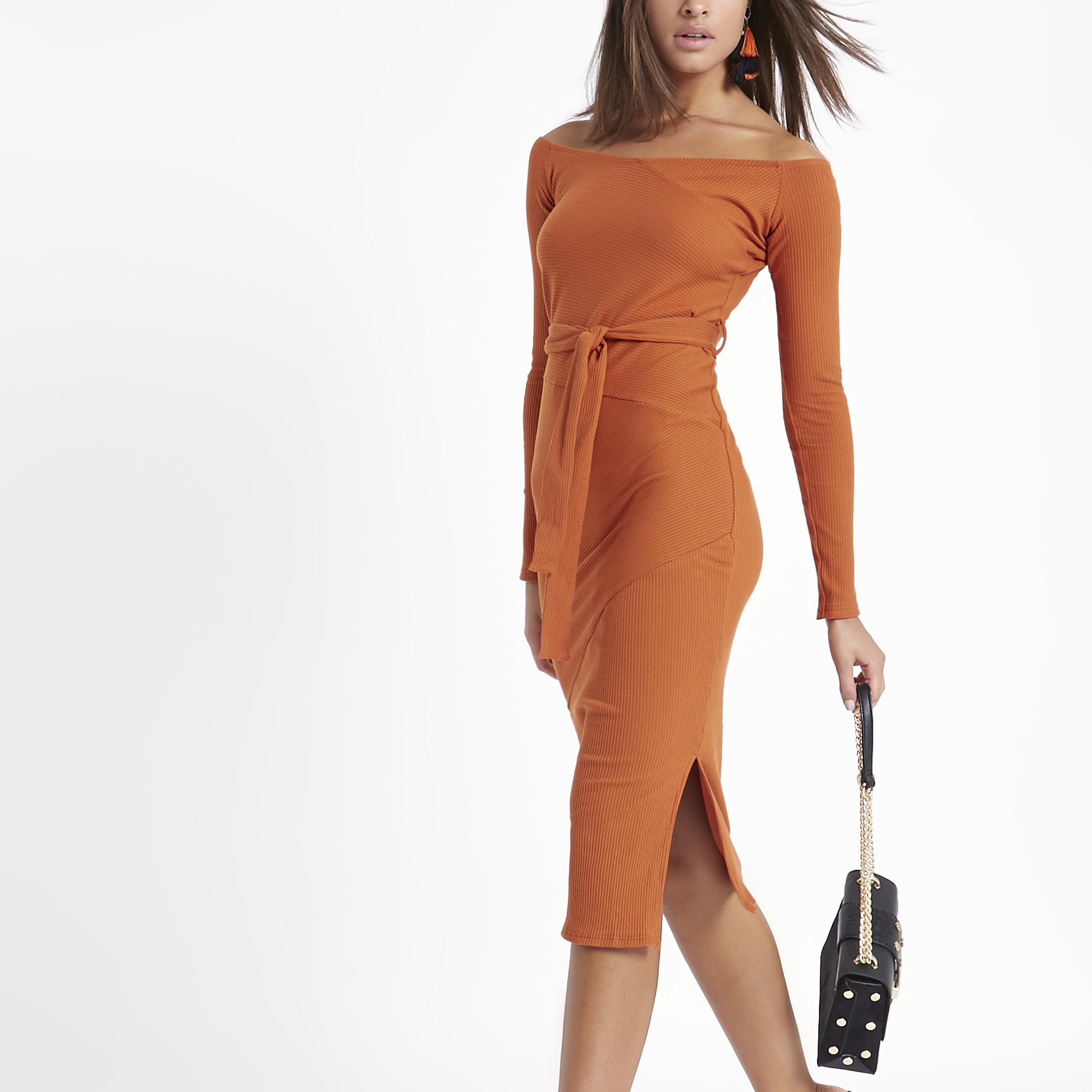RIVER ISLAND   Womens Orange rib bardot tie waist midi dress   Goxip