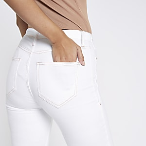 White Harper high rise raw hem jeans