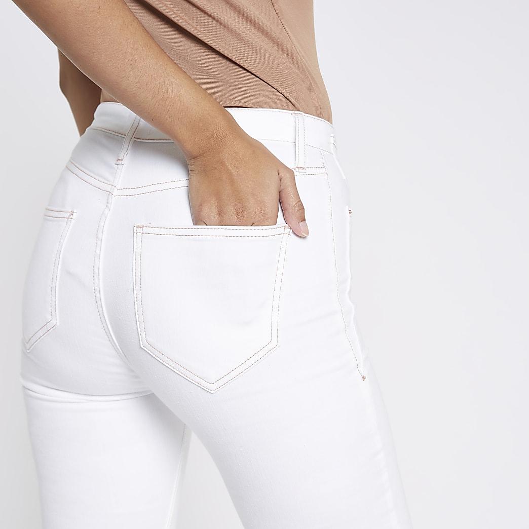 White Harper high rise raw hem jeans