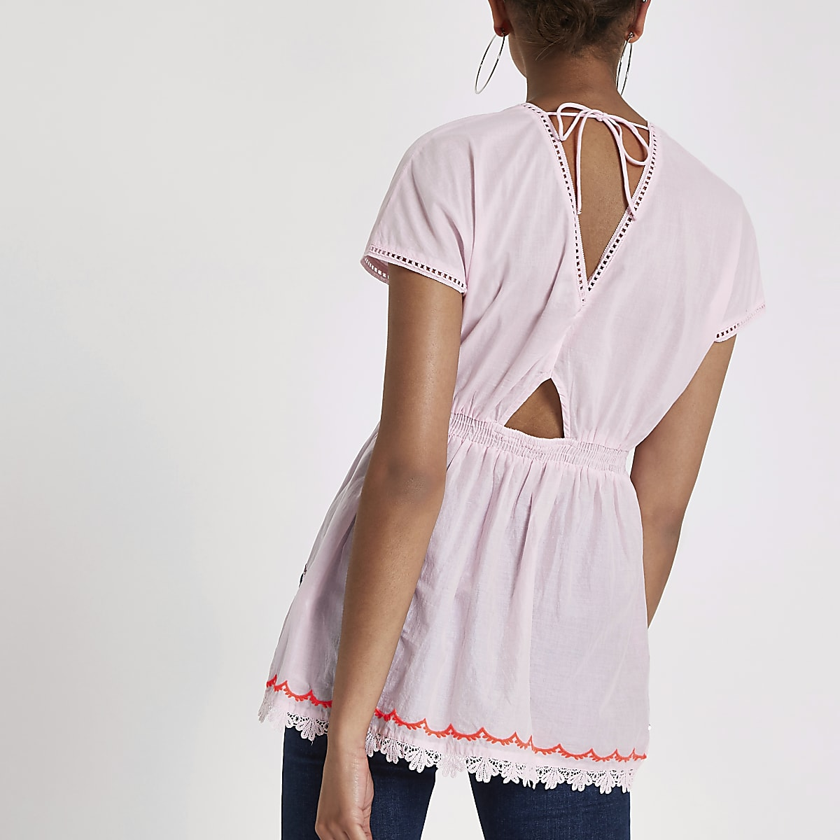 a033e4fffbf75b Pink embroidered smock top - Blouses - Tops - women