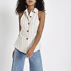 White stripe button front top