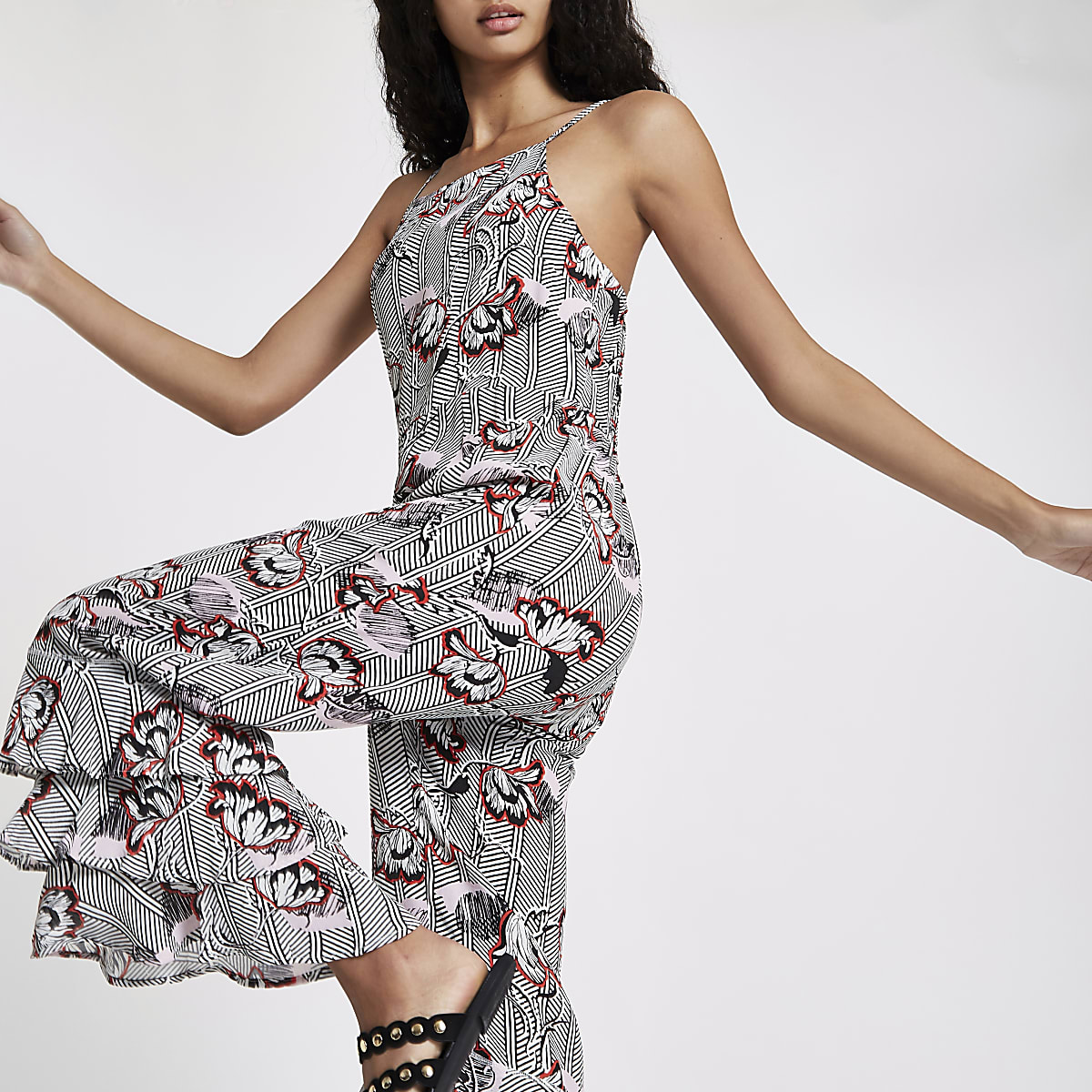 Black floral cami frill leg jumpsuit