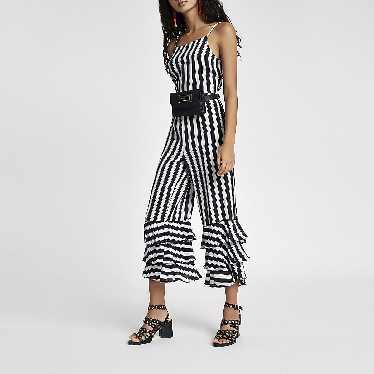 Black stripe tiered frill jumpsuit