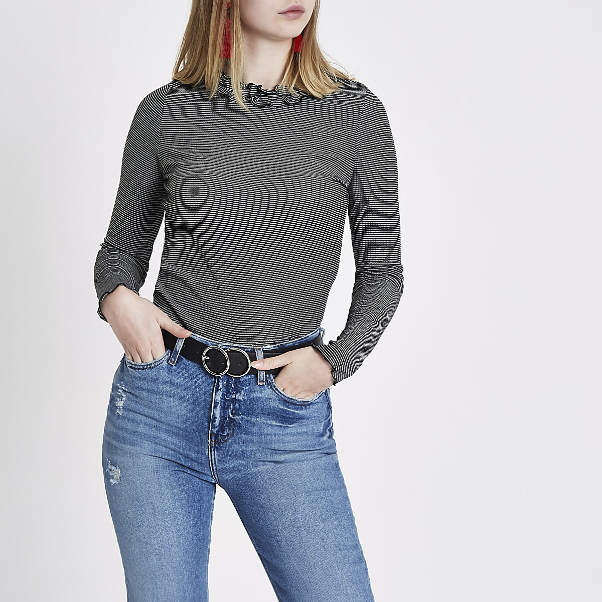 Black stripe frill neck long sleeve top