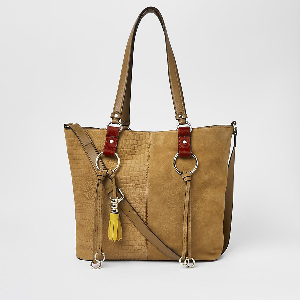 Beige suede hoop detail shopper bag