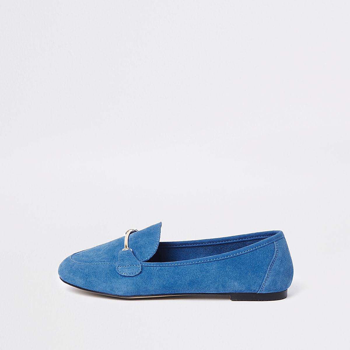 Blue wide fit suede snaffle loafers