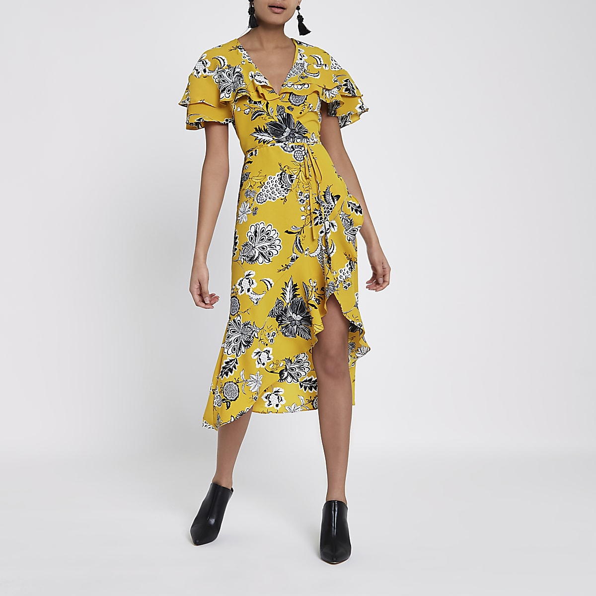 09ba6c033c Yellow floral frill tie waist wrap midi dress - Swing Dresses ...