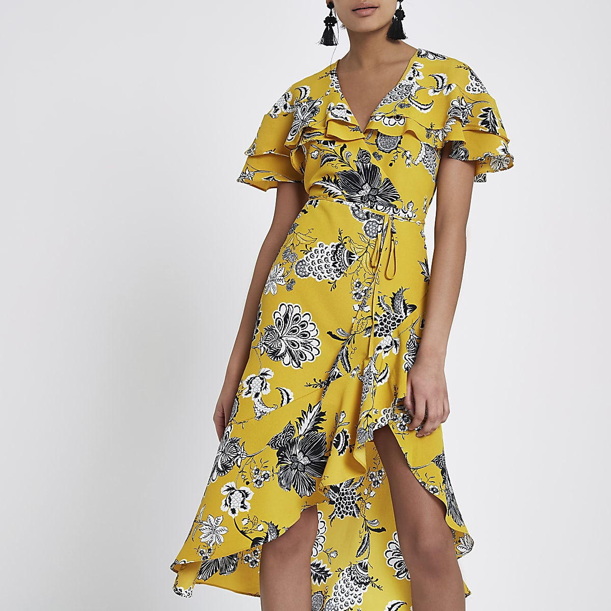 bde987bf84 Yellow floral frill tie waist wrap midi dress - Swing Dresses - Dresses -  women