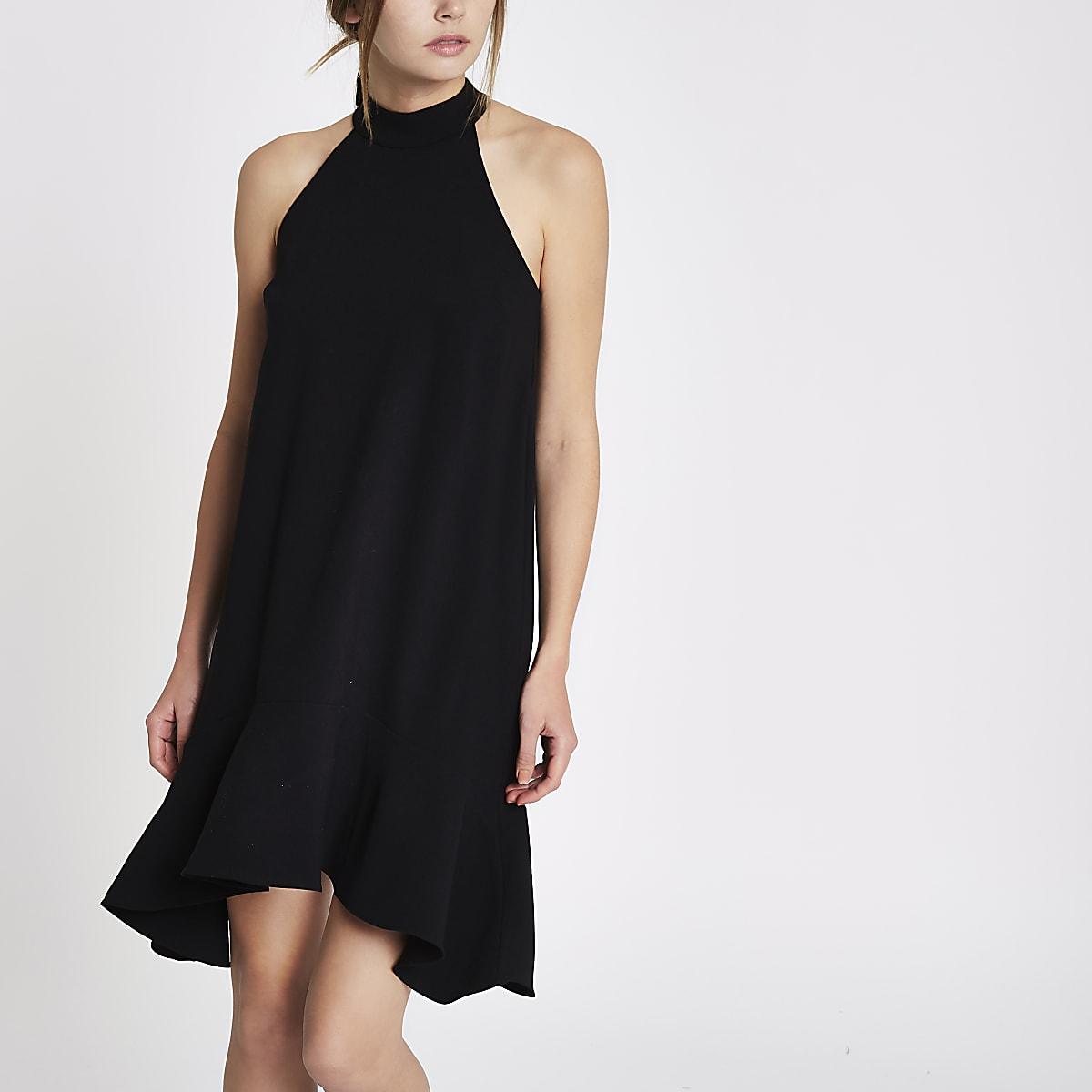 Black tie back frill hem shift dress