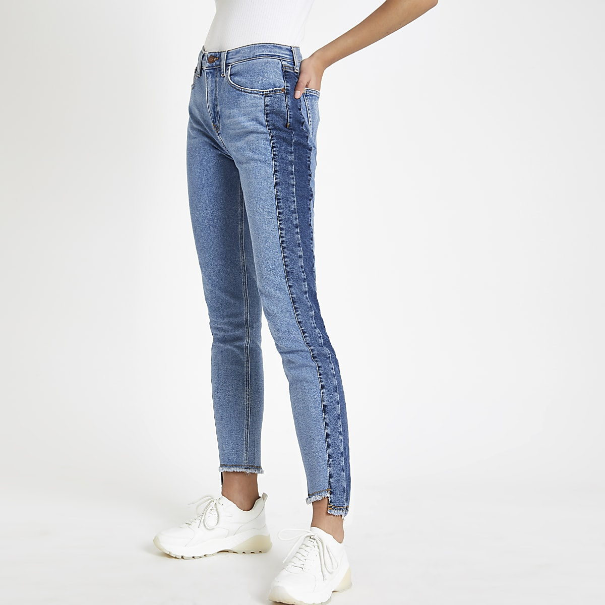 Blue Casey shadow side panel slim fit jeans
