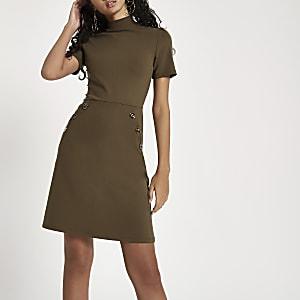 Khaki short sleeve button waist dress
