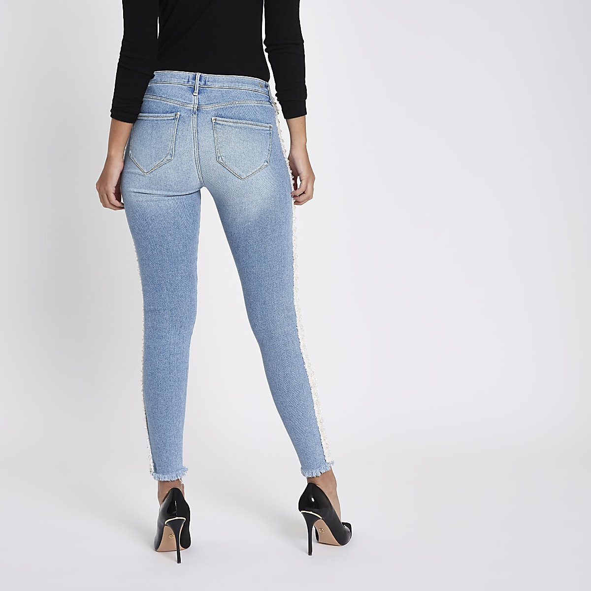 f07032075a42a Blue Molly pearl embellished jeggings - Jeggings - Jeans - women