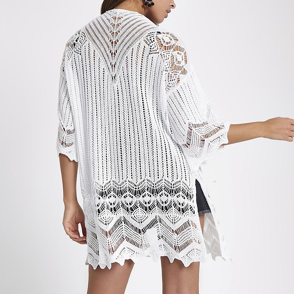 White Crochet Knit Kimono Sleeve Cardigan Kimonos Tops Women