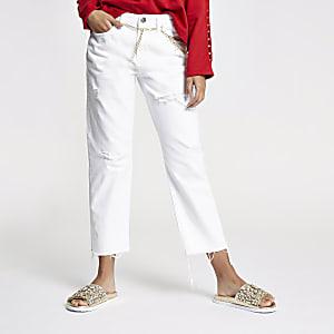 Weiße, mittelhohe Boyfriend Jeans