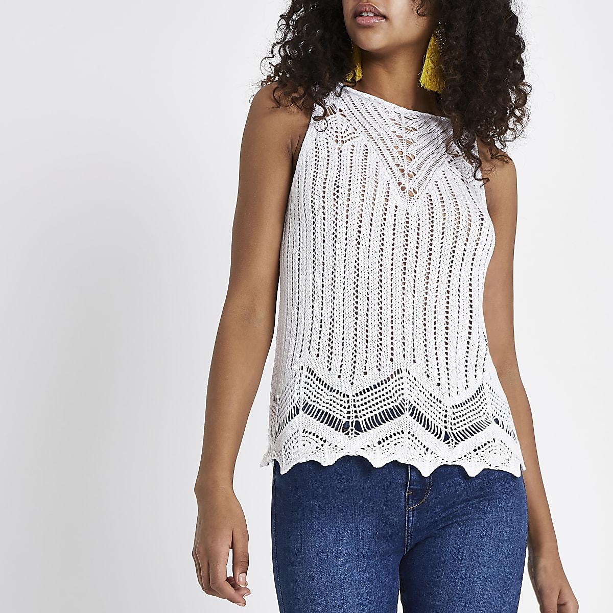 da323b8ced7e1d White crochet tank top - Cami   Sleeveless Tops - Tops - women