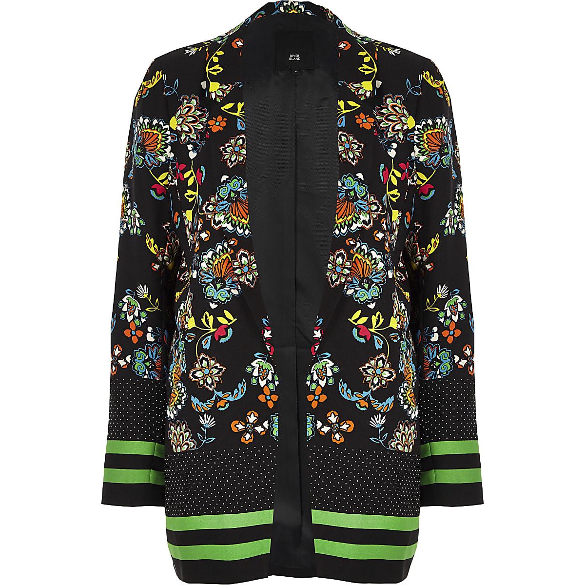 15f6eaa1f Black floral print longline blazer
