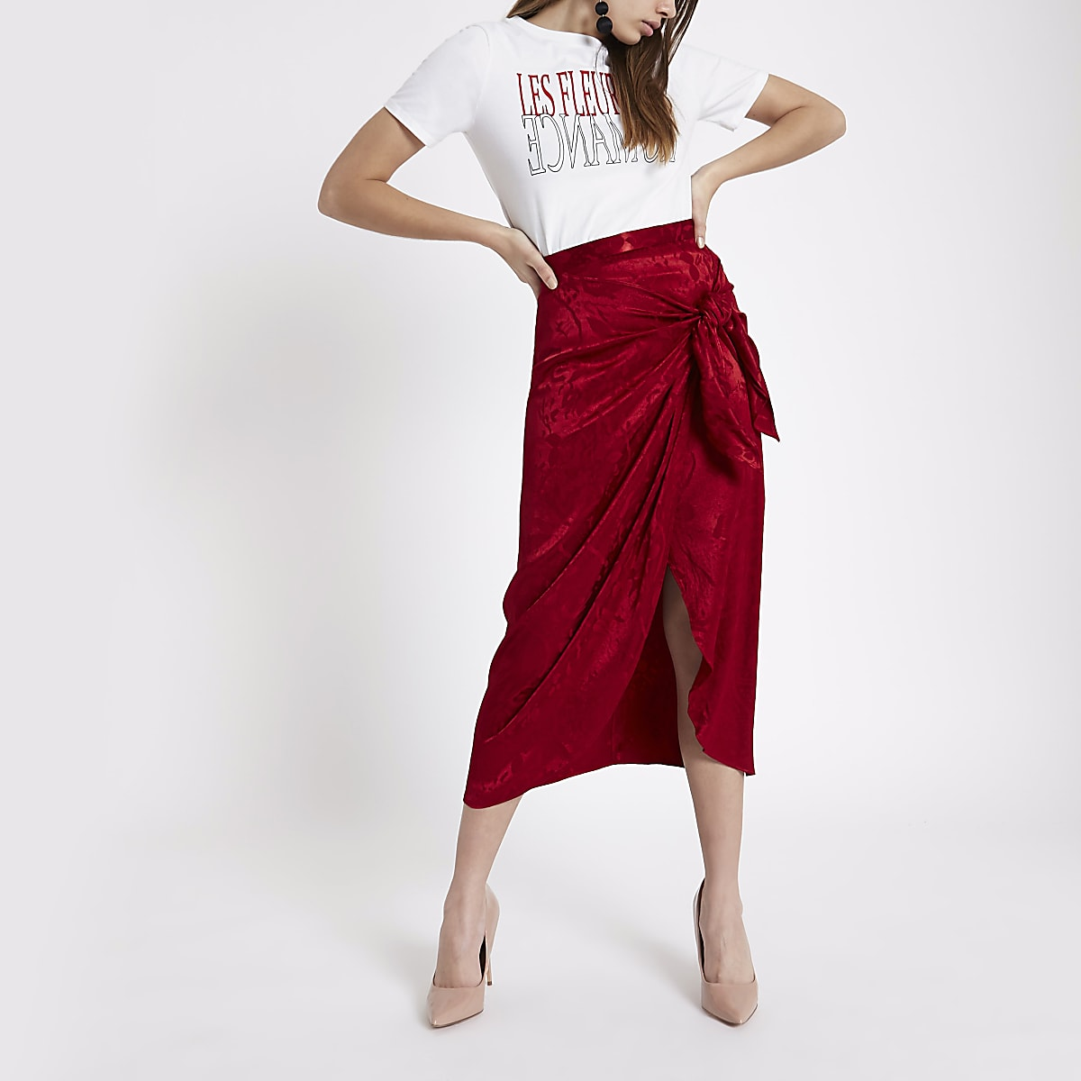8cbcc41e55 Red satin jacquard tie front pencil skirt - Midi Skirts - Skirts - women