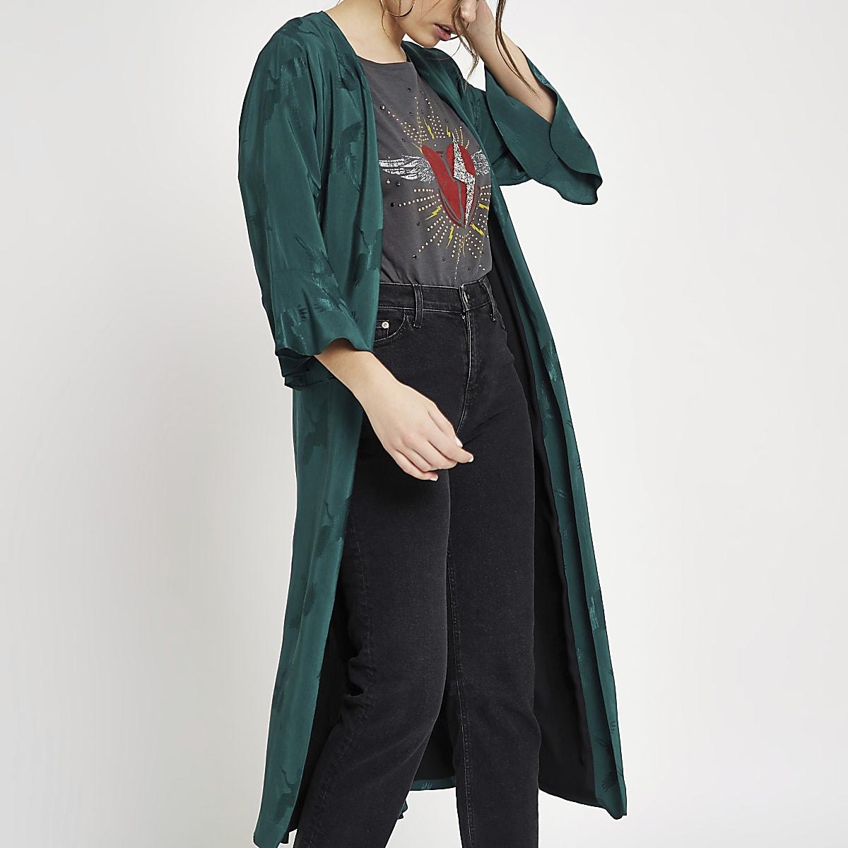 Green jacquard tie waist duster coat
