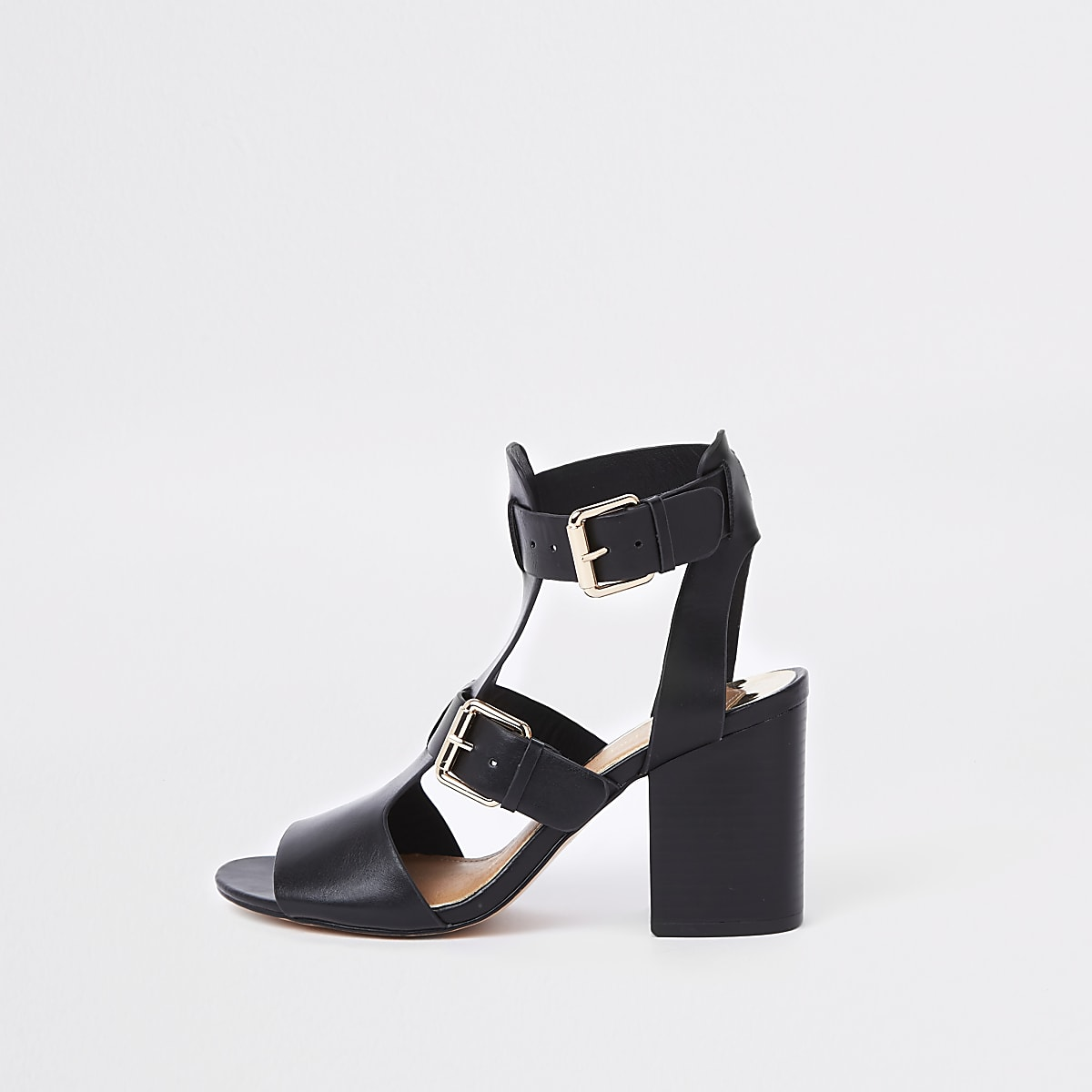 Black double buckle heels