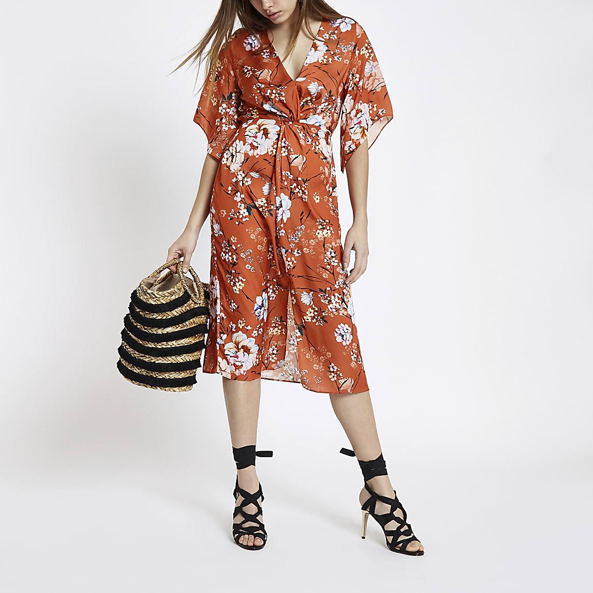 Orange floral kimono sleeve midi dress