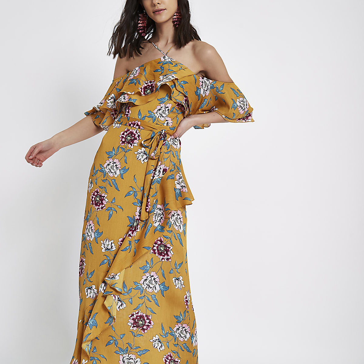 e3381e01a47 Yellow floral print cold shoulder maxi dress - Maxi Dresses - Dresses -  women