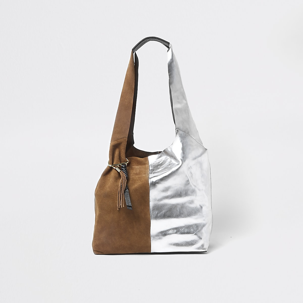 Tan and silver split suede slouch tote bag