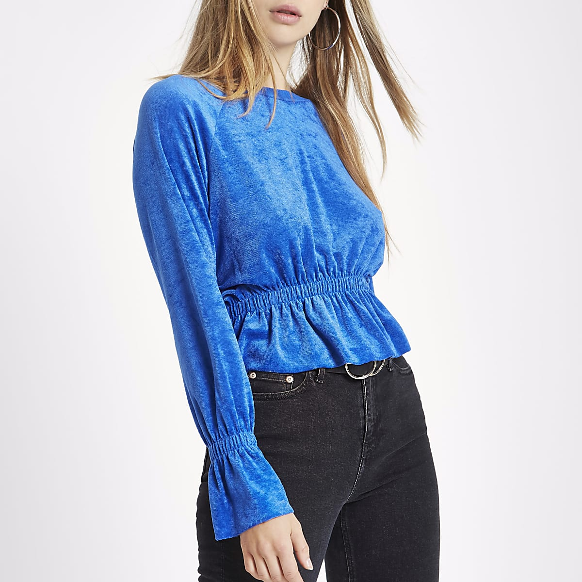 Blue ruched hem long sleeve towelling top